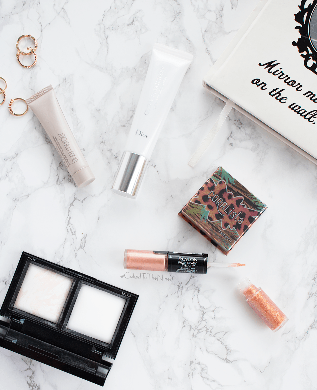 May Beauty Loves featuring Dior Glow Maximizer, Bare Minerals Translucent Powder Duo, Benefit Coralita, Revlon PhotoReady Eye Art, Laura Mercier Tinted Moisturizer