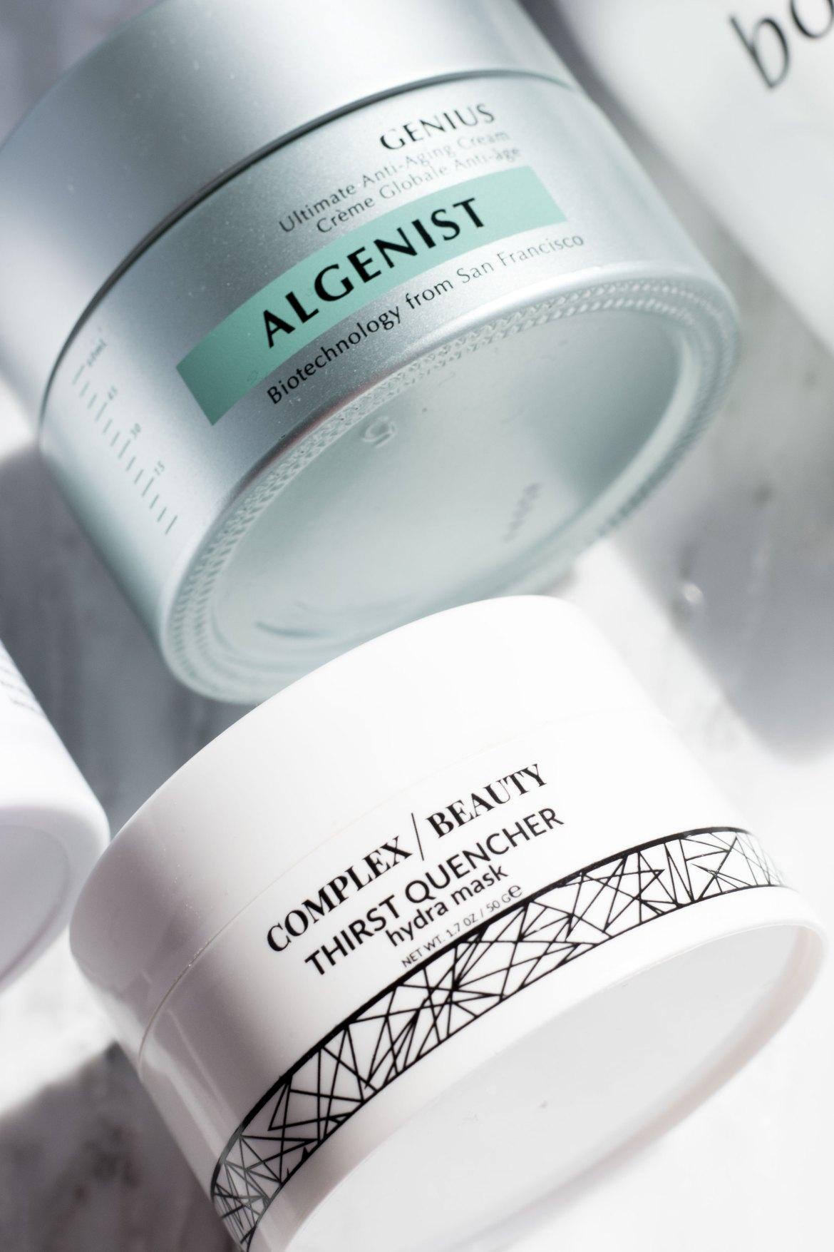 Complex Beauty Thirst Quencher hydra mask; Algenist Genius cream