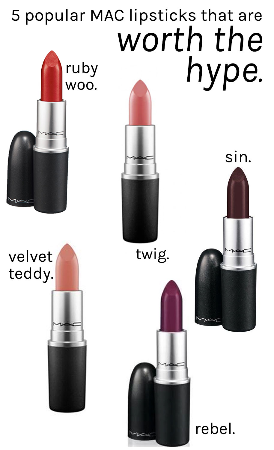 5 super popular MAC lipsticks that are worth the hype rebel, ruby woo, sin, velvet teddy, twig,