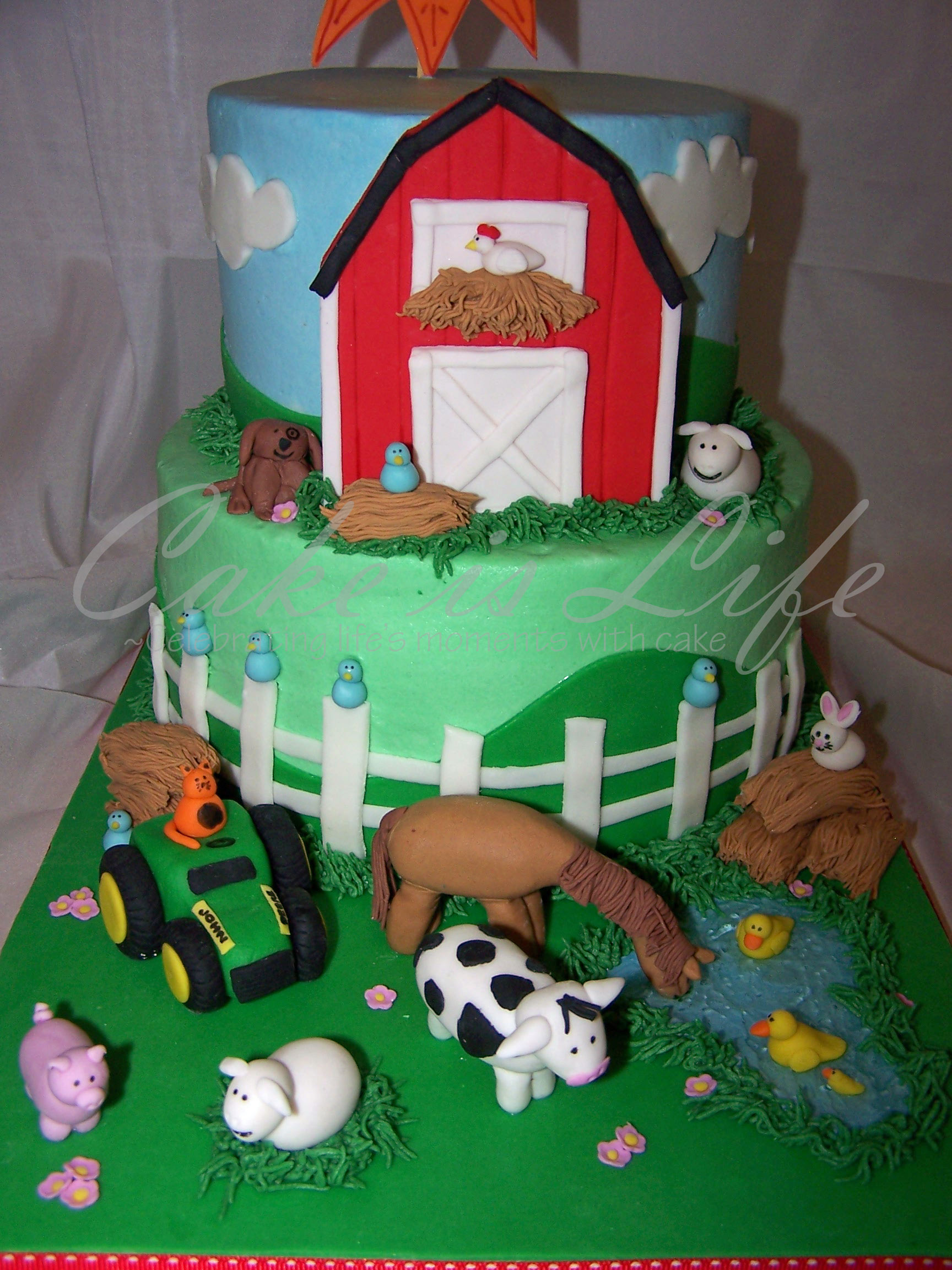Close Up Of Farm Themed Birthday Cake