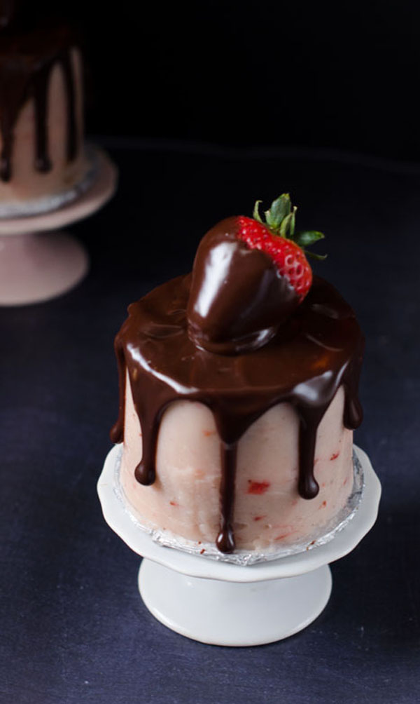 Mini Chocolate Covered Strawberry Layer Cakes For Two The Cake