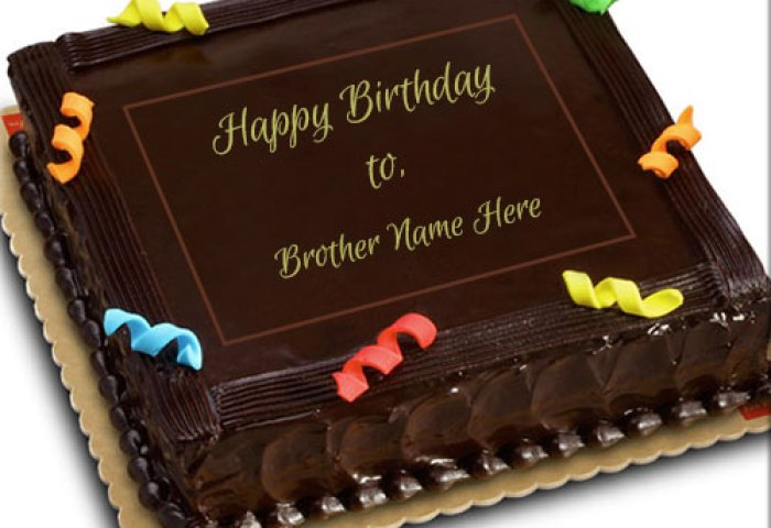 Online Print Name On Chocolate Birthday Cake For Brother