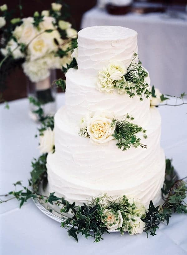 White Rustic Wedding Cake with Flower Decoration