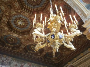 Ballroom chandelier and ceiling