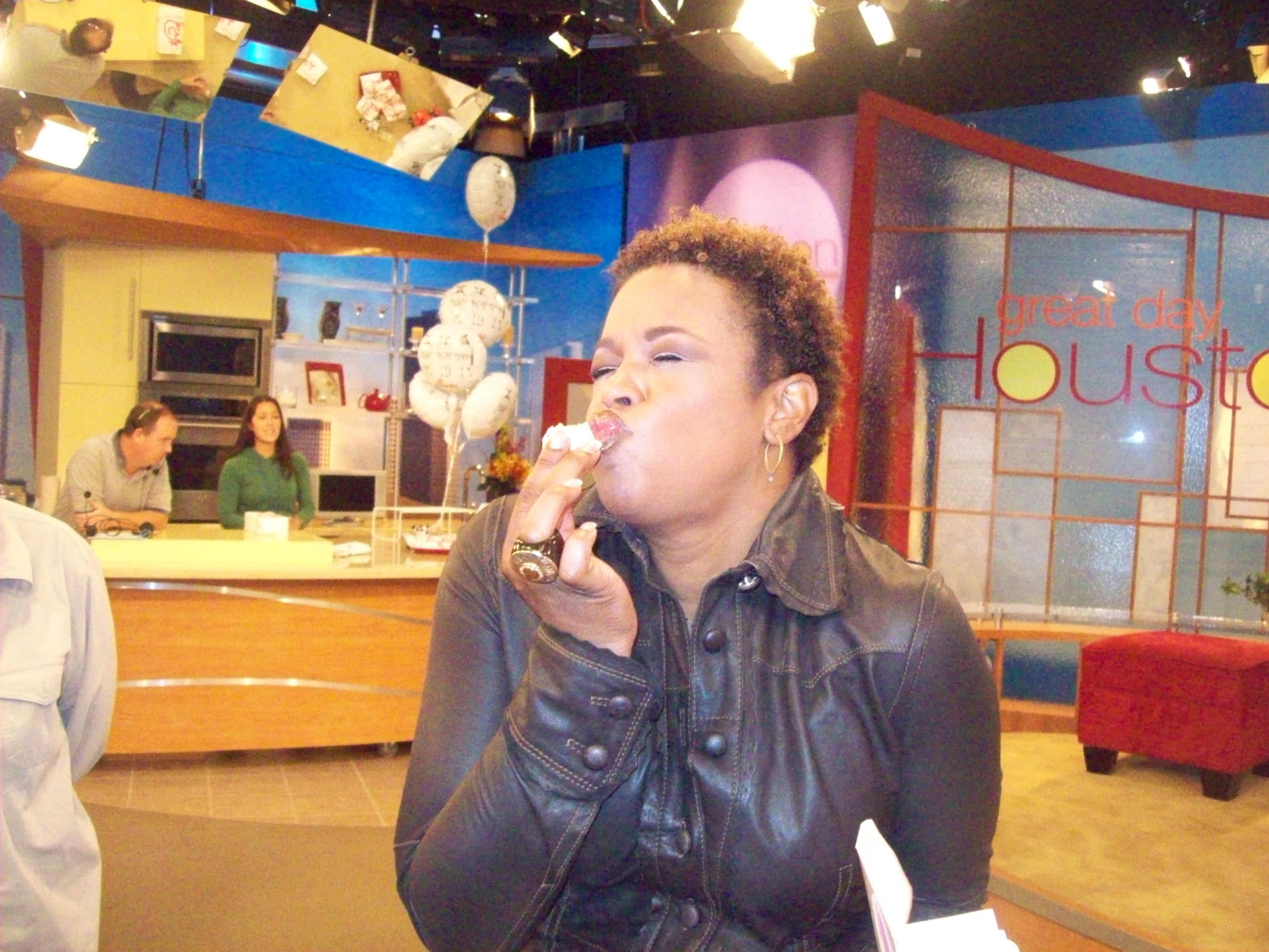Deboarah Duncan enjoys cake balls on the set of Great Day Houston.