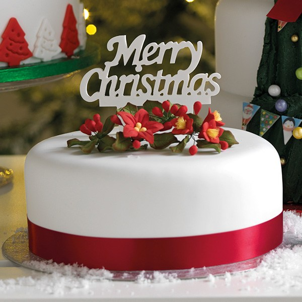 'Merry Christmas' Gumpaste Cake Topper | Cakers World