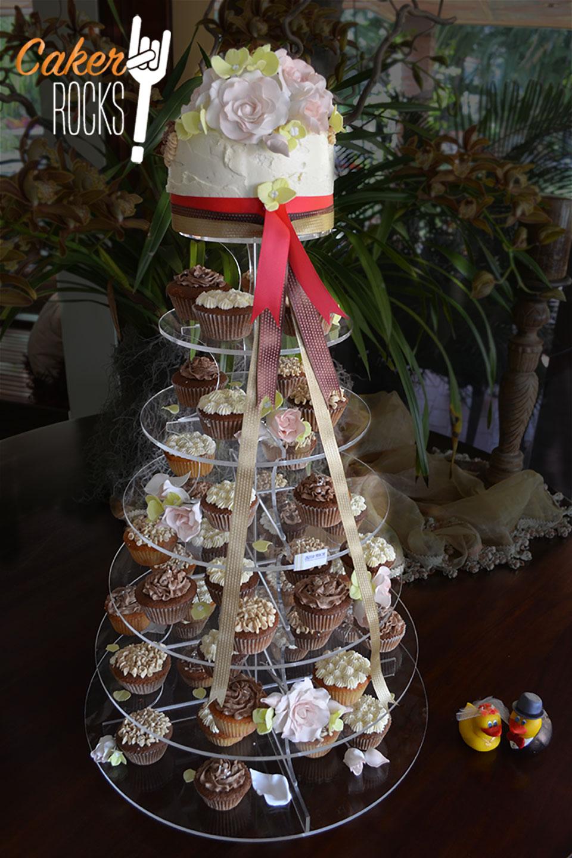 Tarta boda con cupcakes