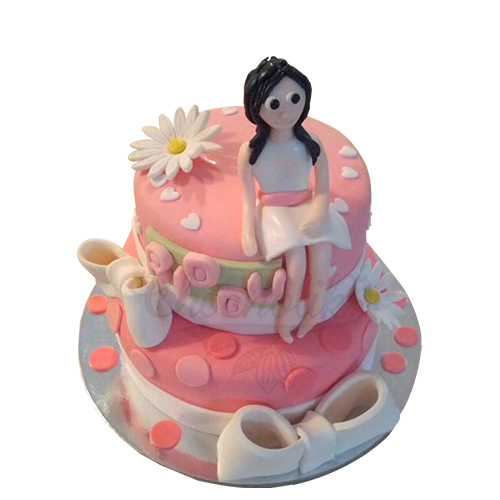 Pink Girl Cake Chandigarh Cakes Delivery Home Delivery of Cream