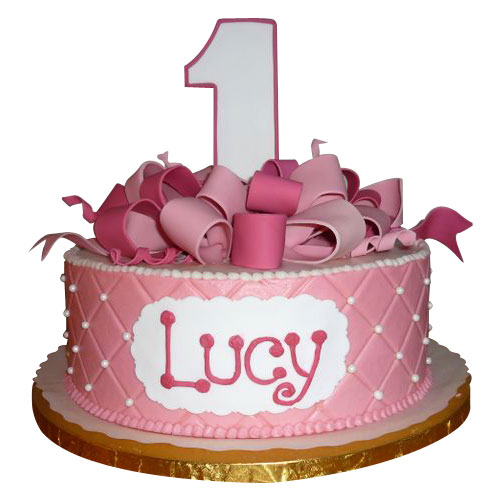 lovely pink 1st birthday cake