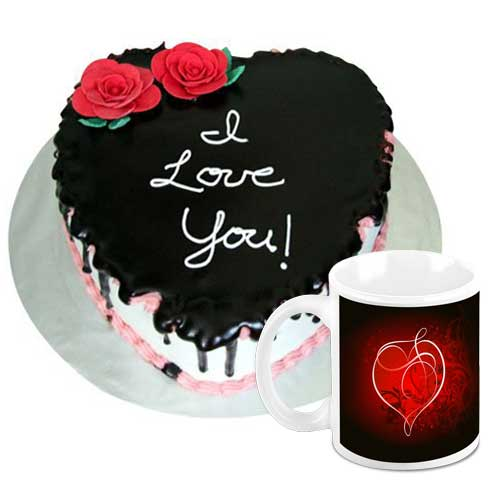 Amazing Heart Shape Cake With Mug