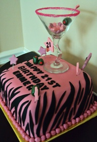 Wine And Fondant Pink Birthday Cake