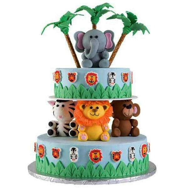 Elephant Zebra Bear Lion Animal Jungle Theme Cakes