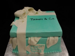 Sculpted Tiffany and Co Box cake