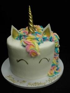 Unicorn cake with pastel rainbow mane