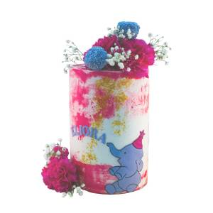 A barrel butter cream with splashes of color and a grey elephant at the bottom