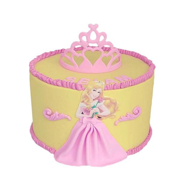 Yellow Cake with Princess Aurora in a pink dress