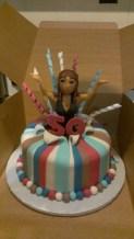 Busty woman, 50th, stripes, fondant, black dress, pop out of cake, stripper cake