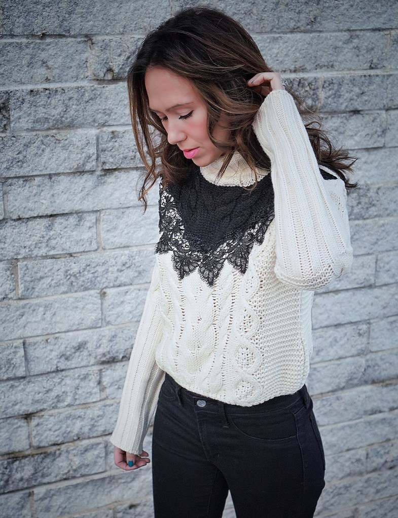 Black Lace & Two-Tone Knit