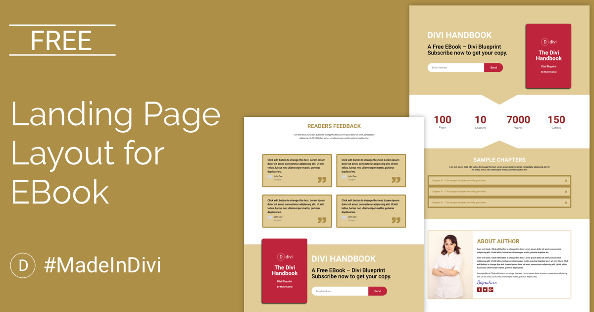 Free Landing Page Divi Layout for EBook | CakeWP