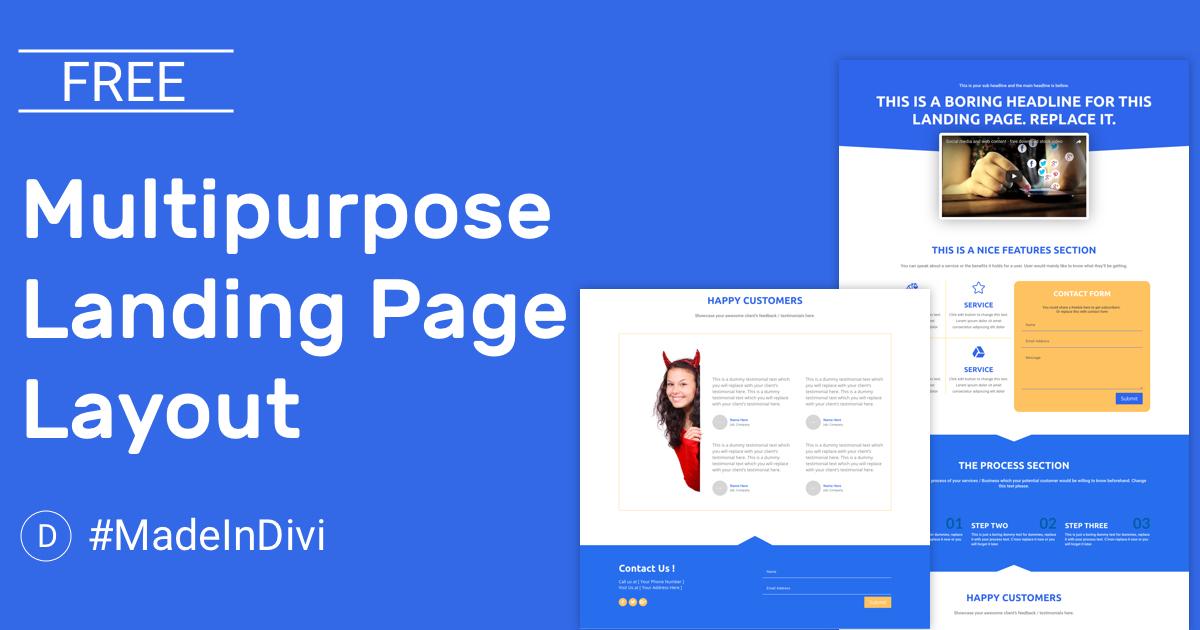 Free Multipurpose Landing Page Divi Layout | CakeWP