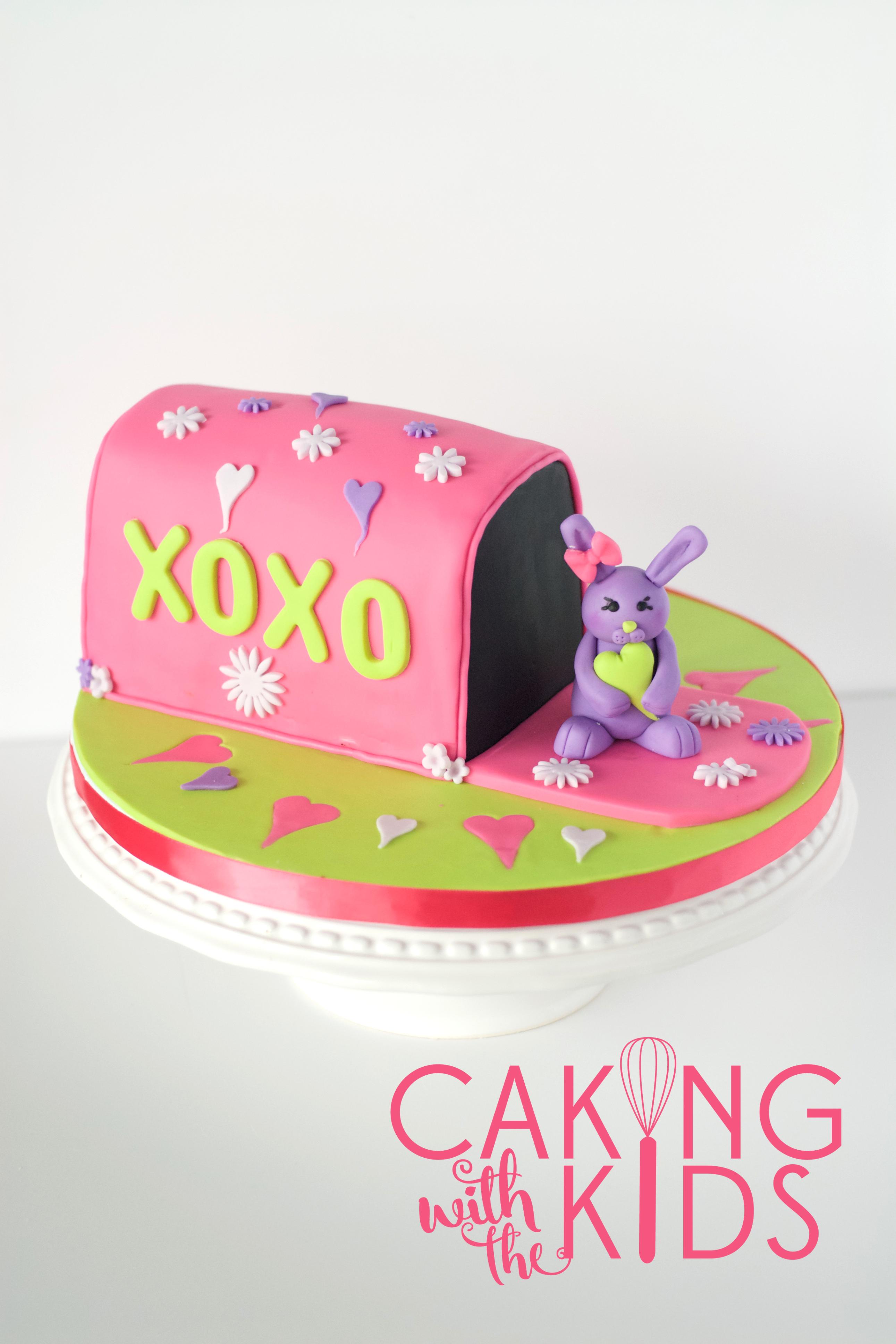 Valentine Cake, Mailbox Cake, fondant bunny, fondant, hearts, easter