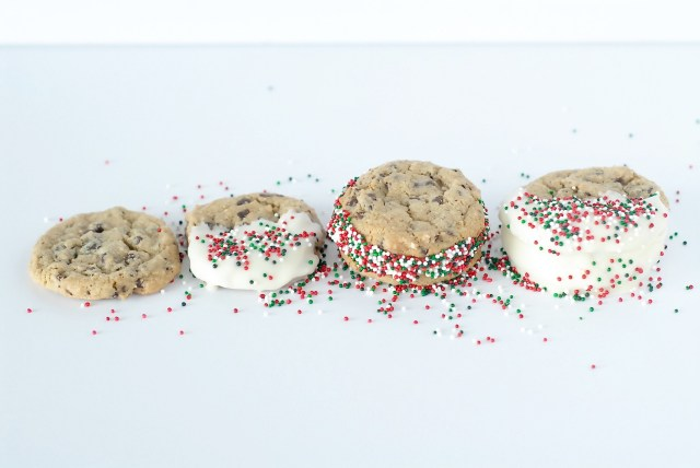 Chocolate Chip cookie recipe, delicious, soft, chewy cookies, sandwiched with buttercream, and a hint of mint, mint chocolate chip cookies