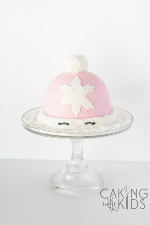 Snow hat Christmas Holiday cake, first fondant cake