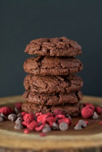 Chocolate Raspberry Cookie with chocolate chips, real raspberries. Thick chewy chocolate chip raspberry cookie.