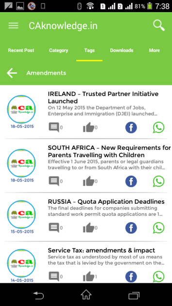 CAknowledge.in Android App Tags Screen