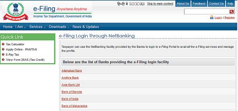 E-Verification of ITR List of Banks