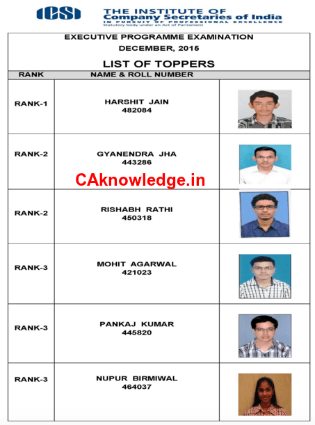CS Executive Dec 2015 Top 3 Rank Holders