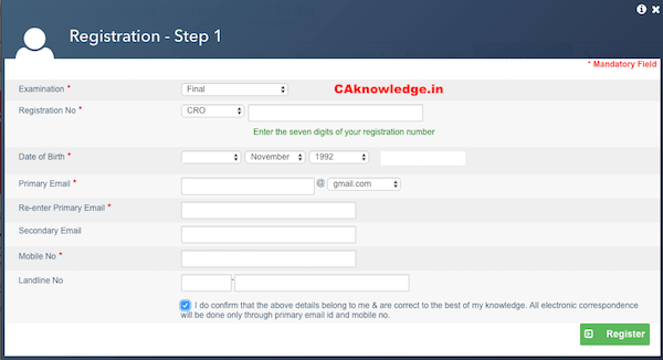 CA Final CA IPCC Exam Form, ICAI Exam Form