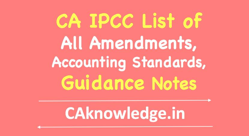 CA IPCC List of Amendments, Standards