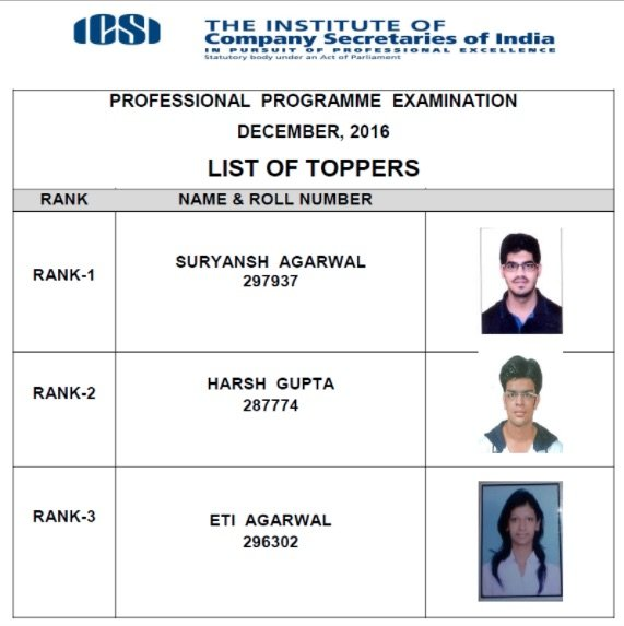 CS Professional Toppers List Dec 2016