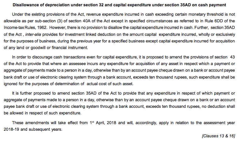 Disallowance of depreciation u:s 32 & capital expenditure u:s 35AD
