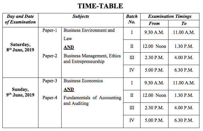 CS Foundation Time Table June