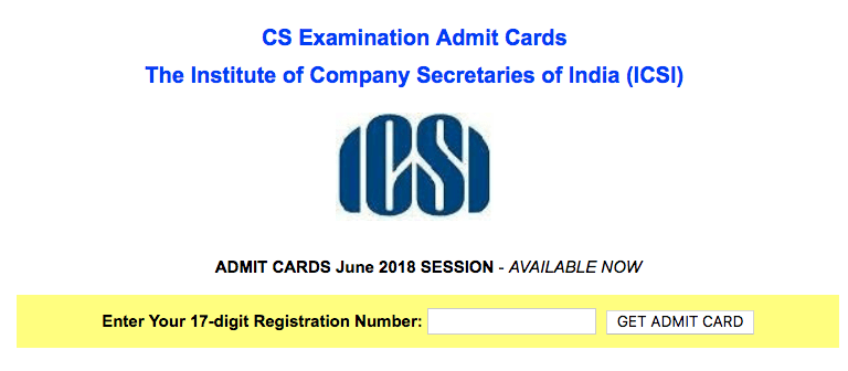 ICSI CS Admit Card June 2018