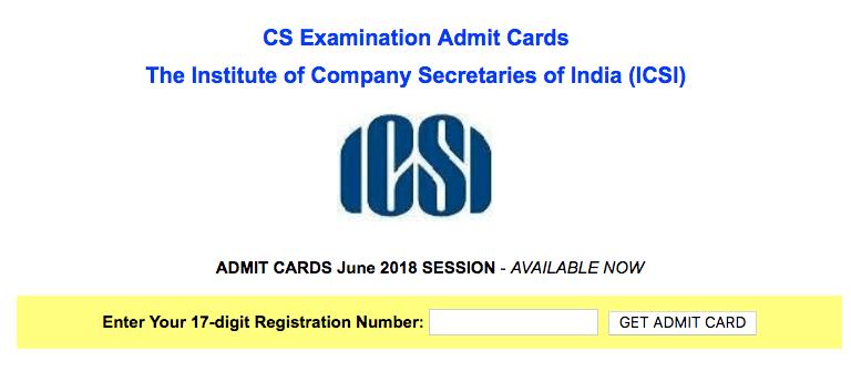 ICSI CS Admit Card June 2018