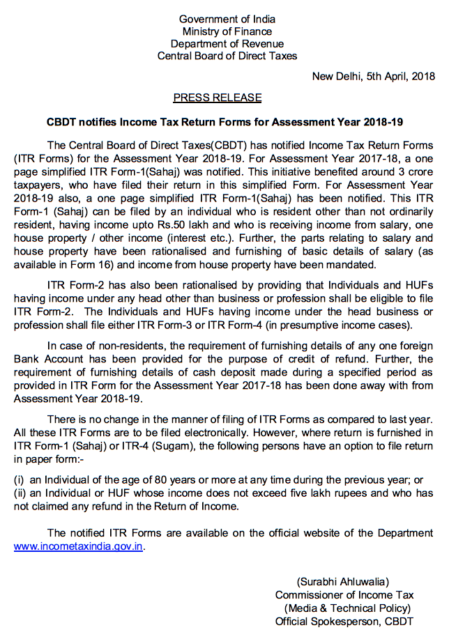 CBDT notifies Income Tax Return Forms