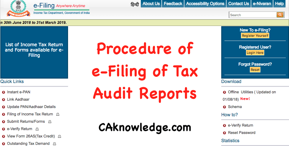 Procedure of e-Filing of Tax Audit Reports