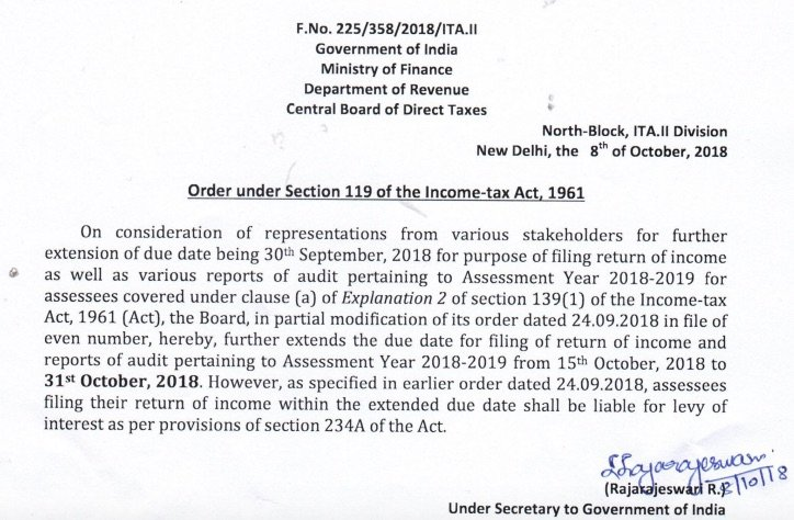 Tax Audit Due Extended