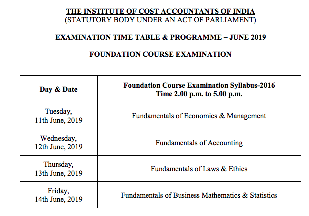 CMA Foundation Time Table June 2019