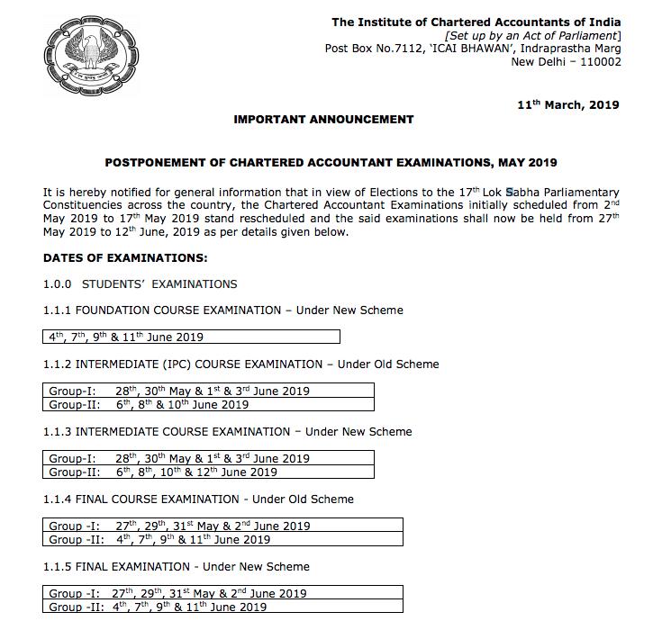CA Exams Postponed new