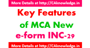 Key Features of MCA New e-form INC-29