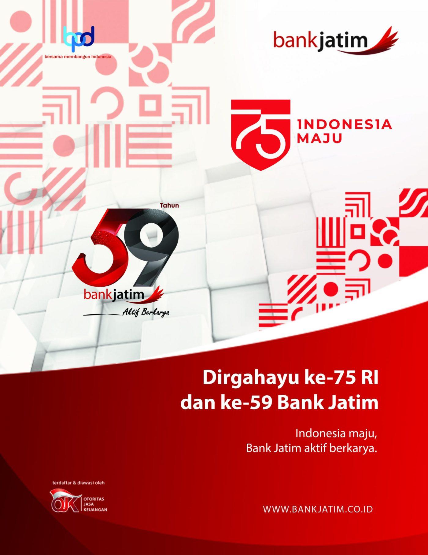 Display Ucapan HUT RI ke 75 Bank Jatim