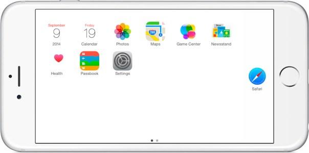 iPhone6 Plusランドスケープモードでもドックが消える壁紙です