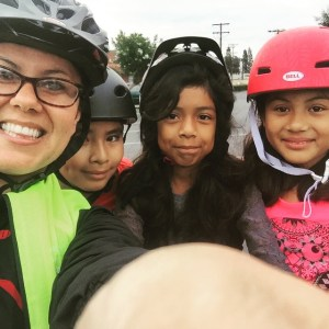 Michele Martinez, far left, taking a selfie with William H. Spurgeon Intermediate School students at this year's Bike to School Day. Photo Courtesy of Michelle Martinez.