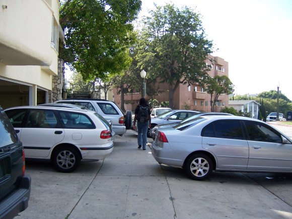 Parking on sidewalks has become a sanctioned practice in Westwood Village. Photo: Donald Shoup