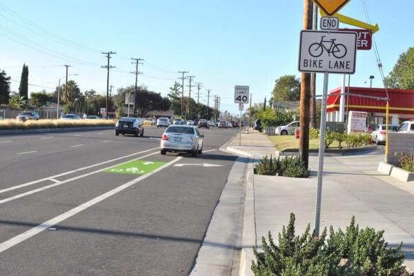 A green stripe painted on the southbound bike lane on New Hope Street in Santa Ana.
