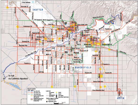 Proposed bicycle improvements in Bakersfield, from the Kern County Bicycle Master Plan